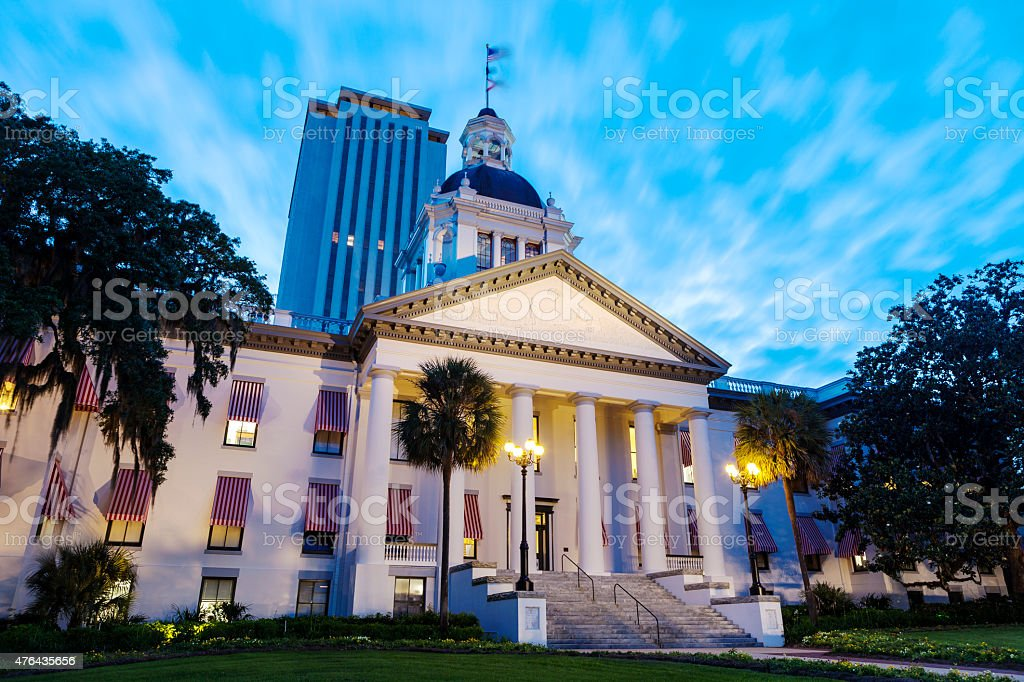 New And Old Florida State Capitol Buildings In Tallahassee stock photo