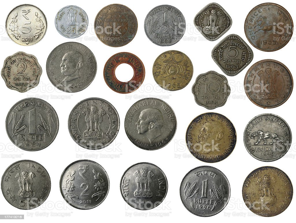 New and old indian coins in silver, copper, brass royalty-free stock photo