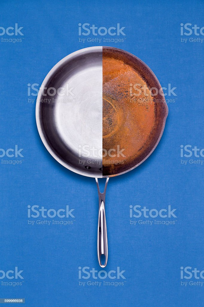 New and old rusted frying pan combined stock photo