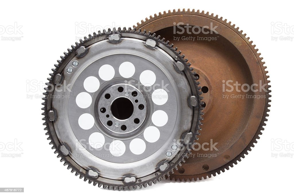 new and old rusty damping flywheels for automotive diesel stock photo