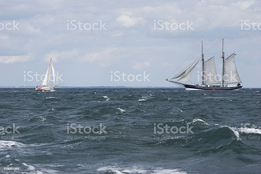 New and old sailing ship stock photo