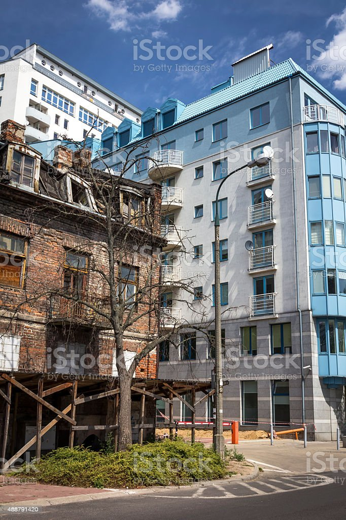 New and old Warsaw, Poland stock photo