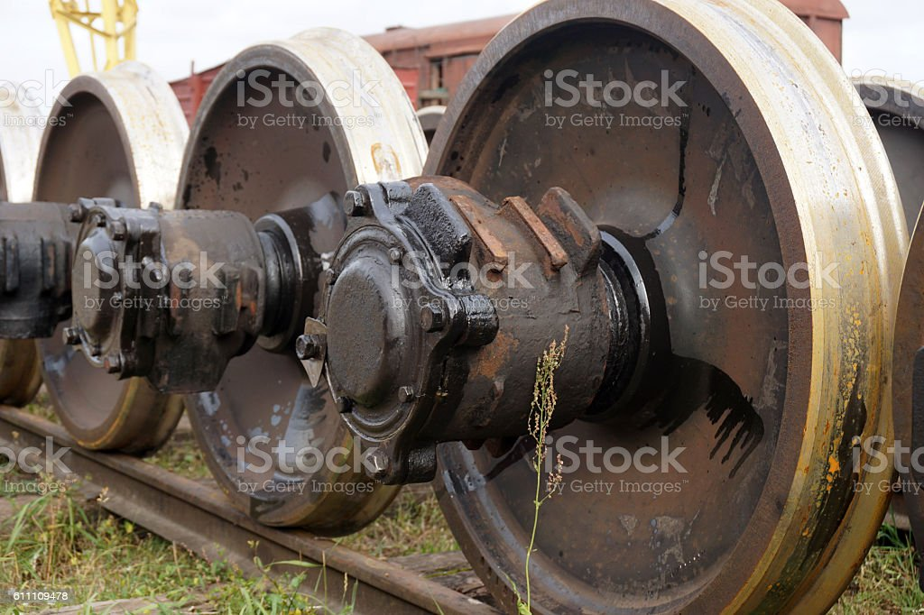 New and spare railway wheels on the axle stock photo