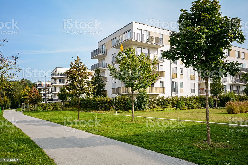 New apartment building - modern residential development stock photo