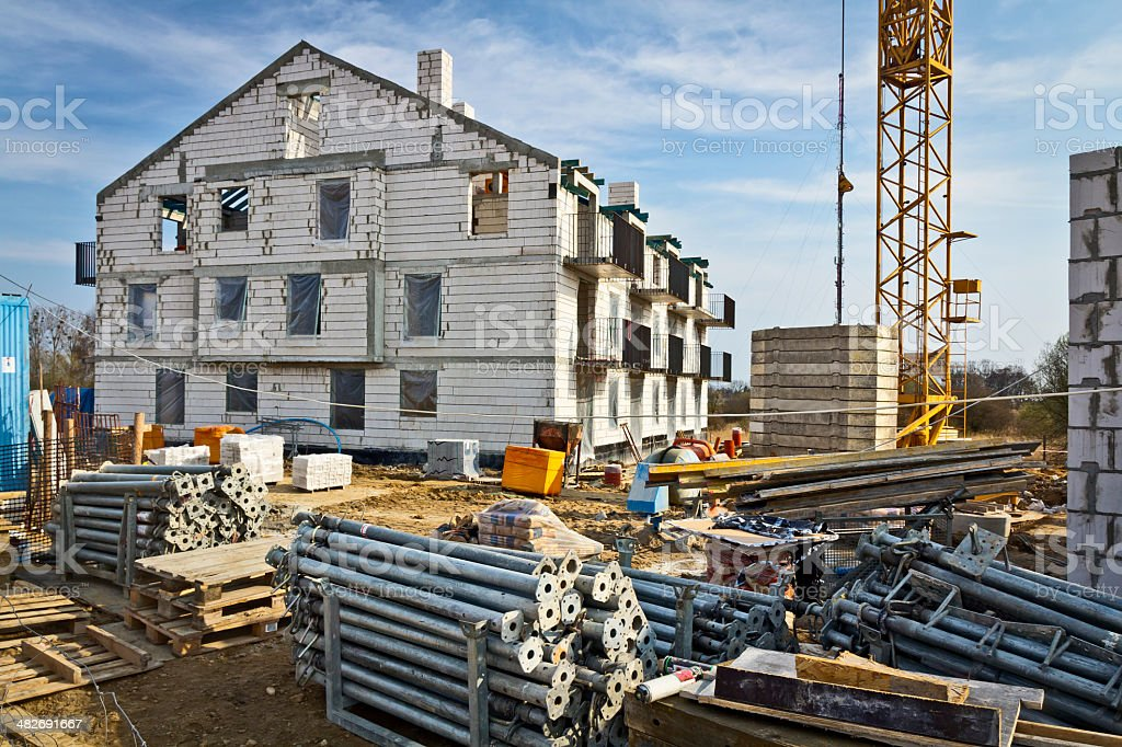 New apartment building under construction royalty-free stock photo