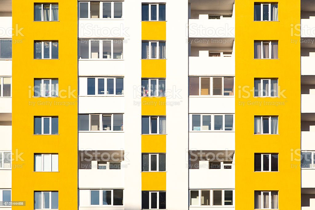 New apartment building with balconies close-up stock photo
