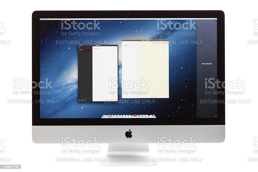 New Apple iMac with Reminders and Notes royalty-free stock photo