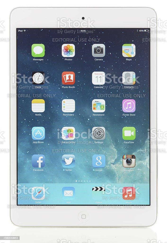 New Apple iOS 7 on iPad Mini stock photo