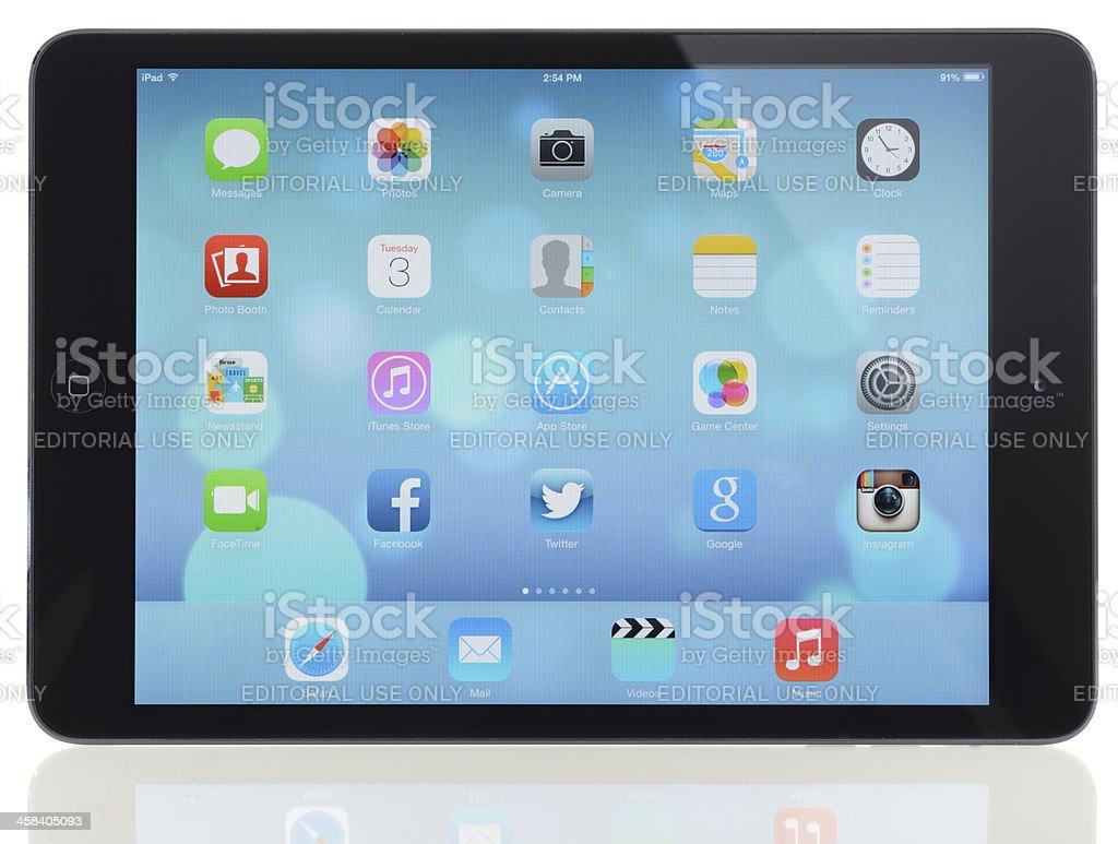 New Apple iOS 7 on iPad Mini royalty-free stock photo