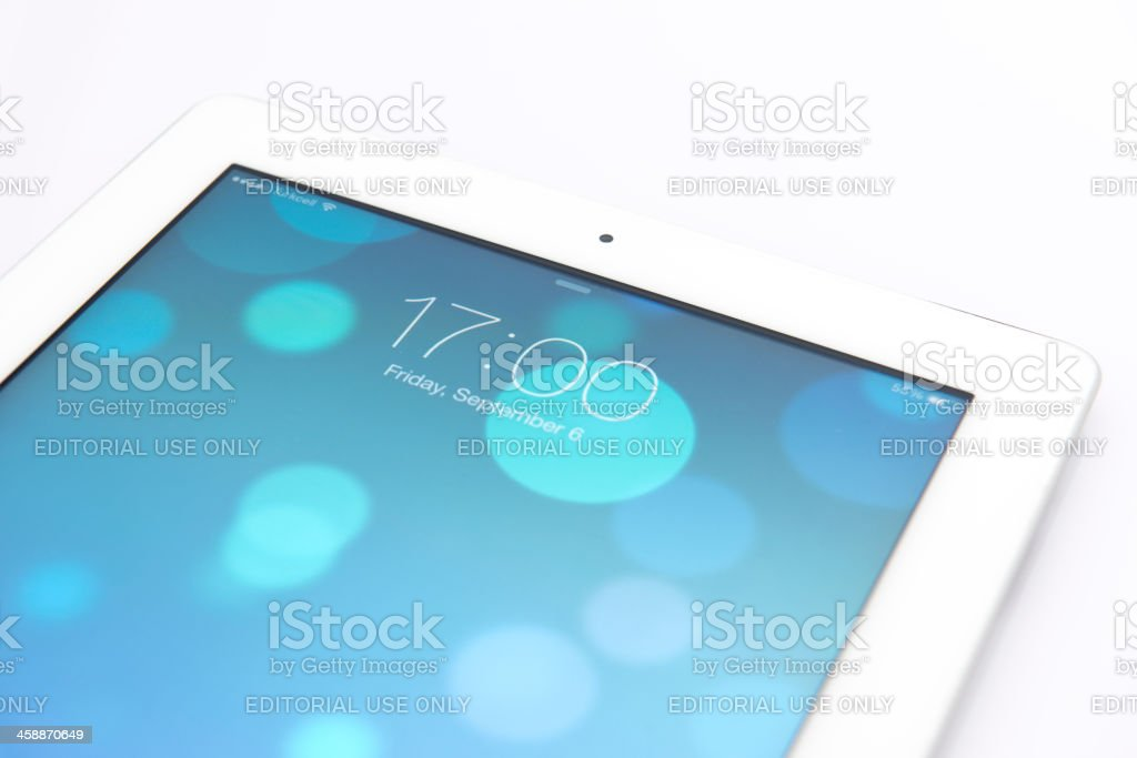 New Apple iOS 7 operating system on iPad royalty-free stock photo