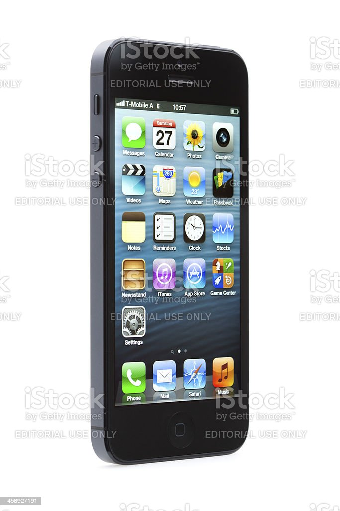 new apple iphone 5 home screen royalty-free stock photo