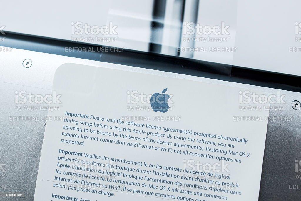 New Apple Macbook Pro Retina laptop unboxing stock photo