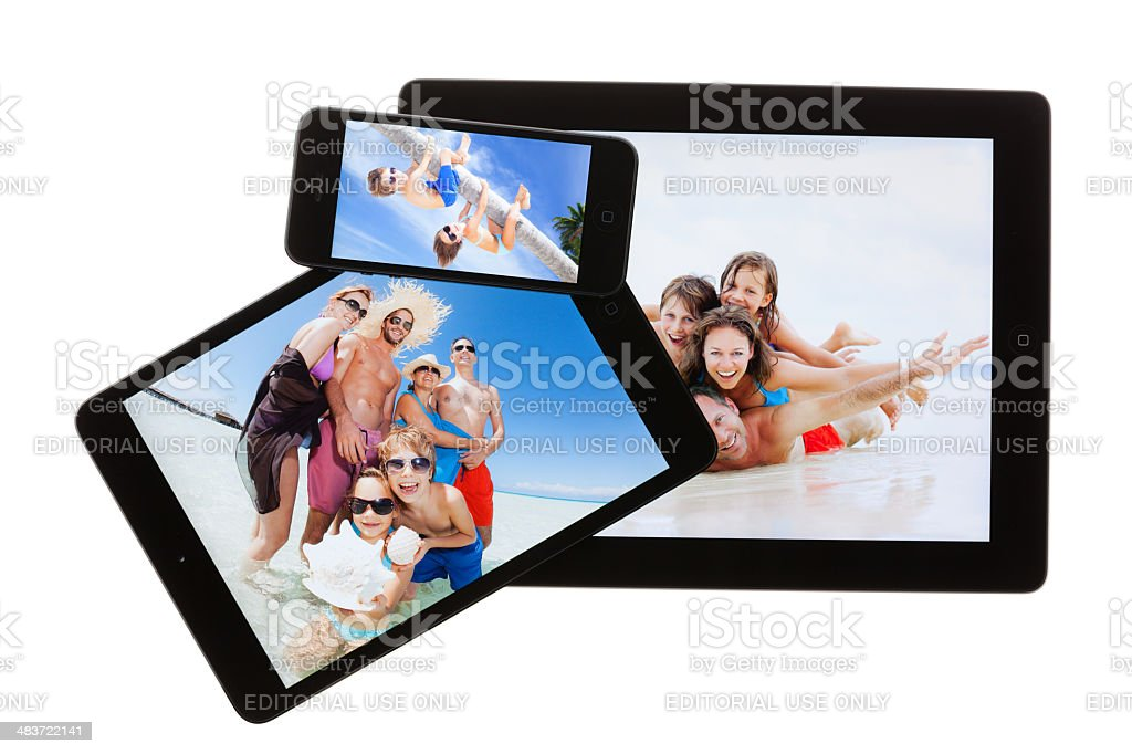 new apple tablets and smartphone stock photo