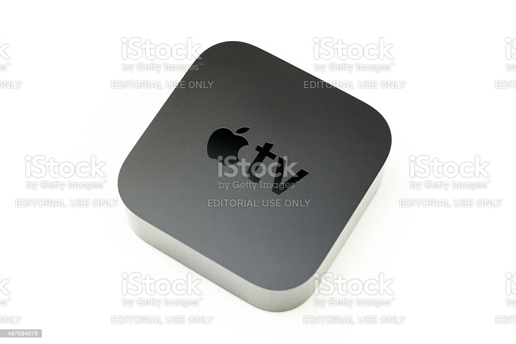 New Apple TV media streaming player microconsole isolated stock photo