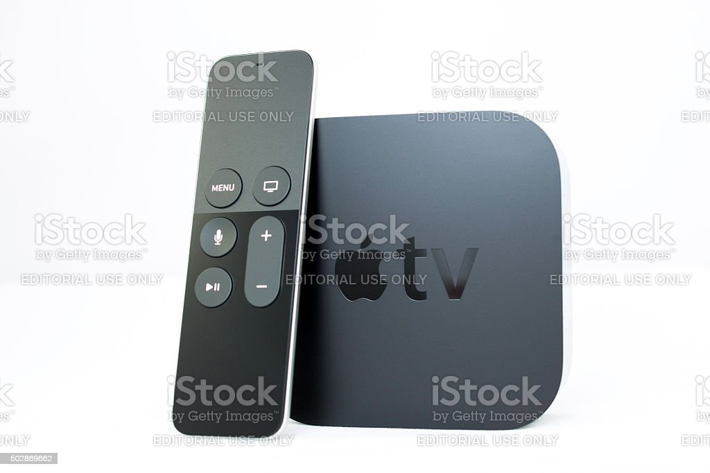New Apple TV media streaming player microconsole stock photo
