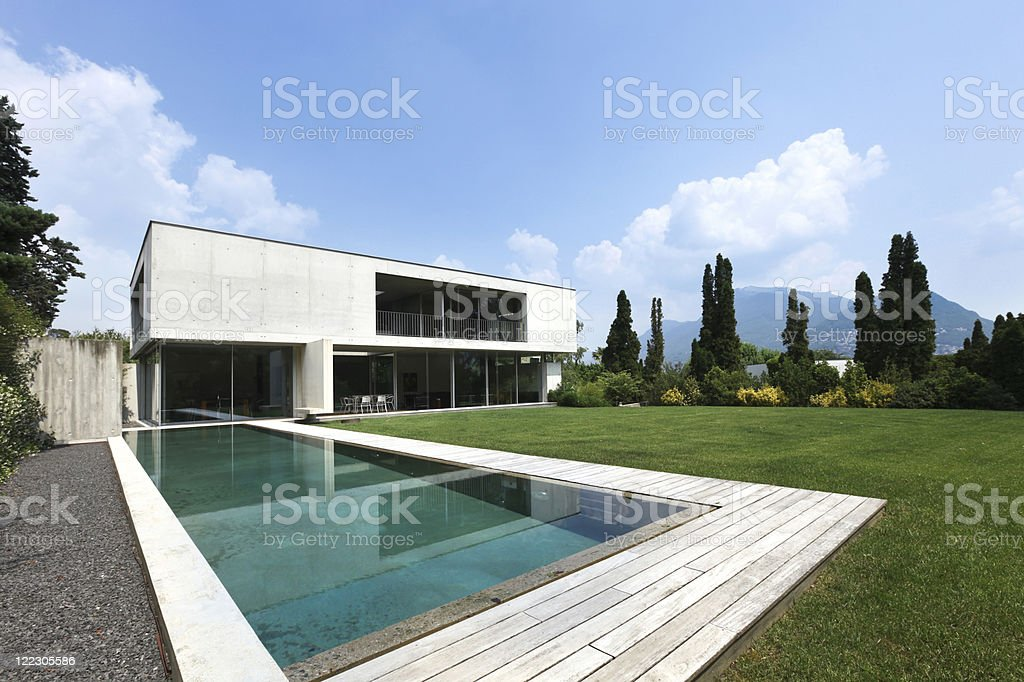 new architecture, beautiful modern house outdoors royalty-free stock photo