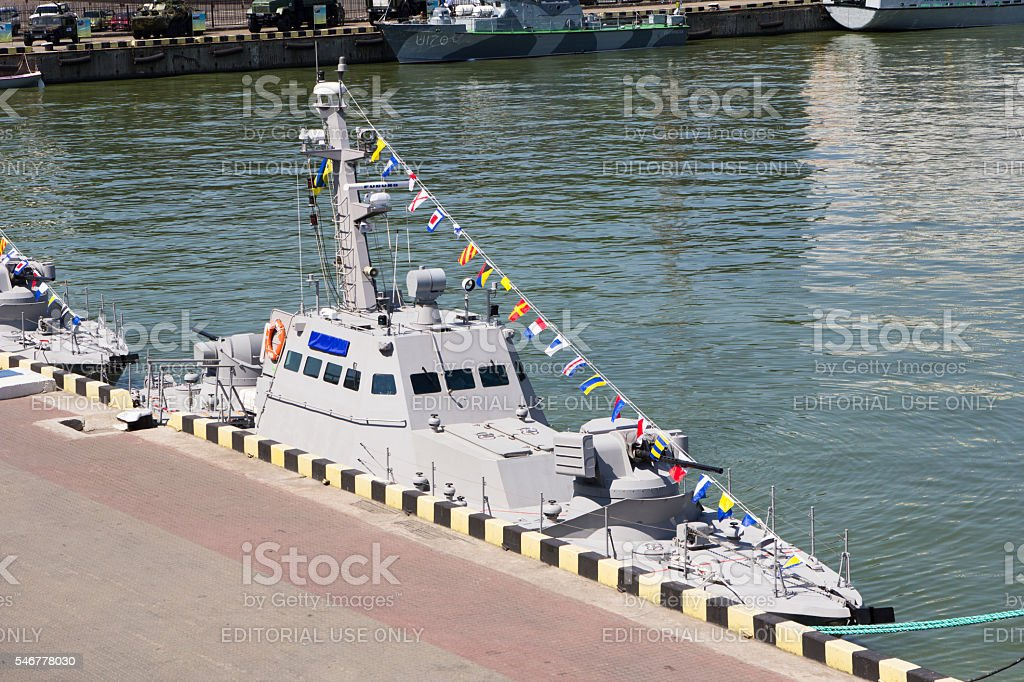 Odesa, Ukraine - July 03, 2016: New armored boats during stock photo