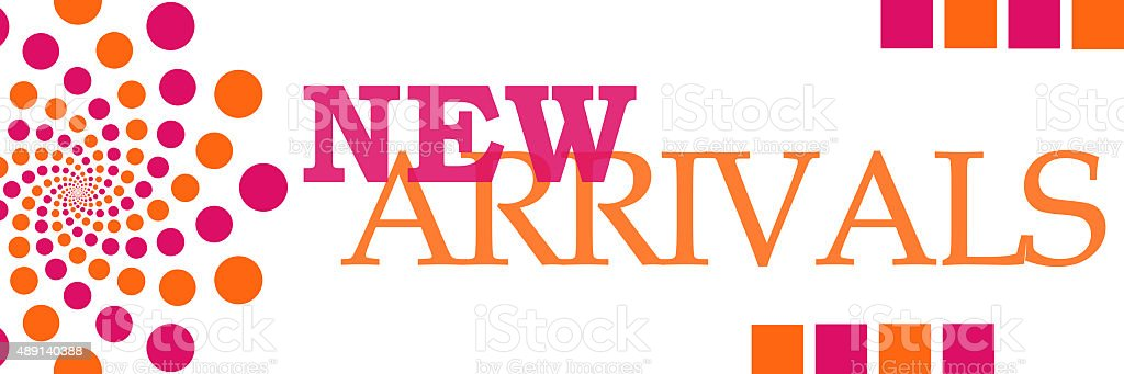 New Arrivals Pink Orange Dots Horizontal stock photo