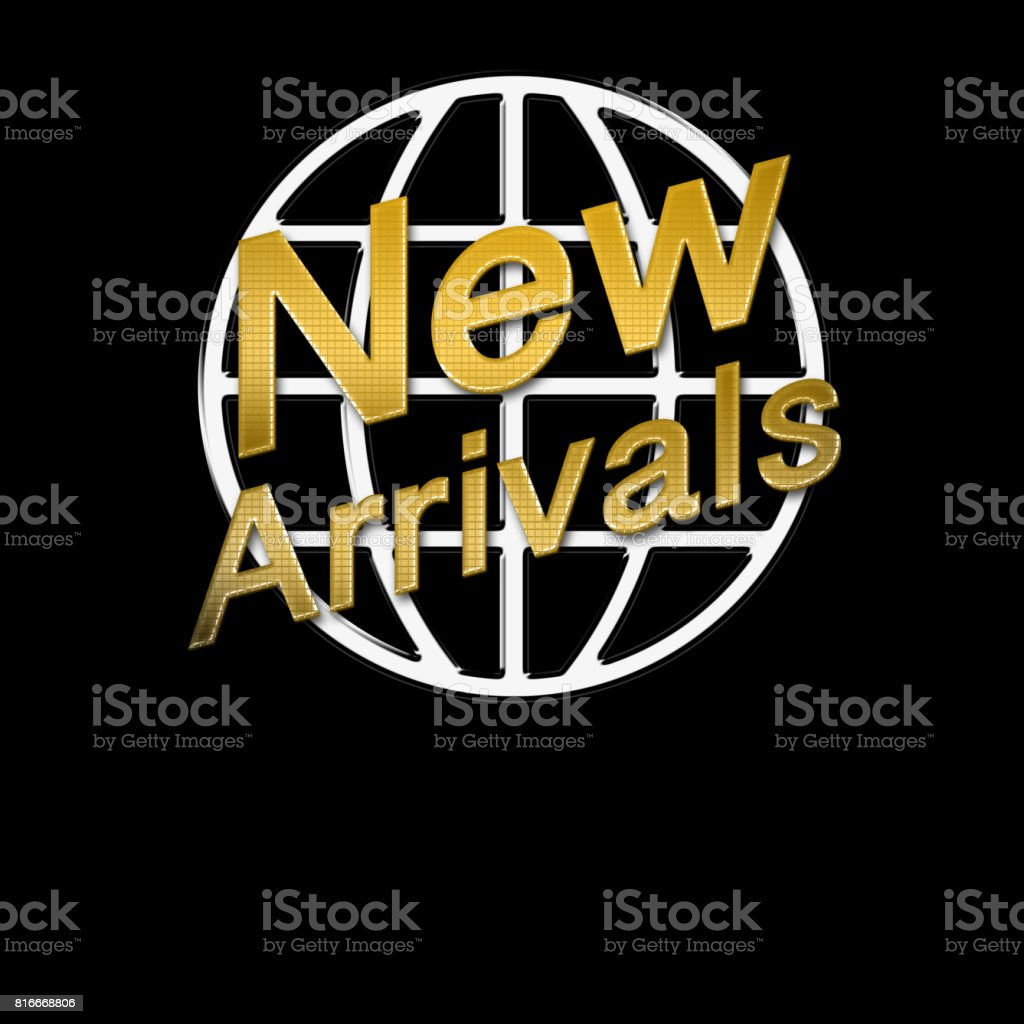 New Arrivals, shiny gold text, in front of shiny metal round shape,  isolated against the black background. stock photo