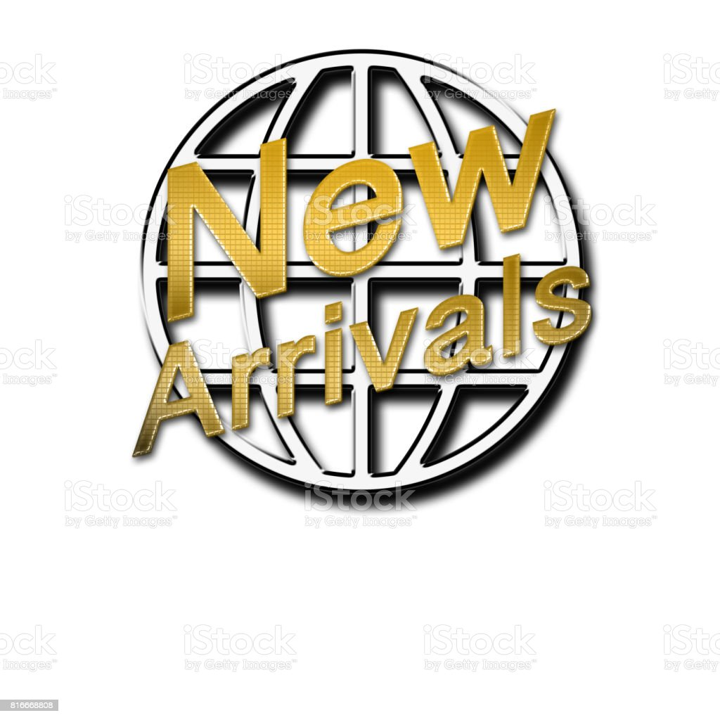 New Arrivals, shiny gold text, in front of shiny metal round shape,  isolated against the white background. stock photo