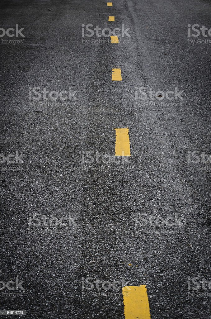 New asphalt texture with white dashed line stock photo