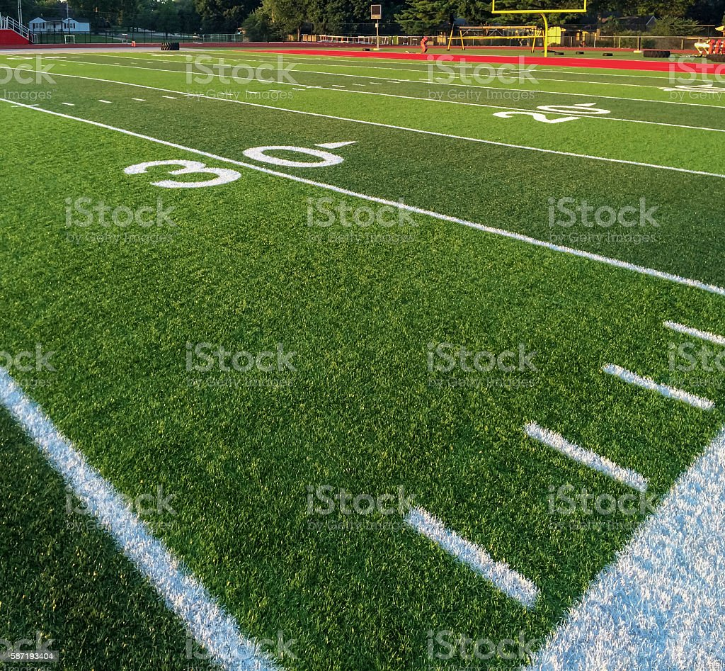New Astro Turf Football Field stock photo