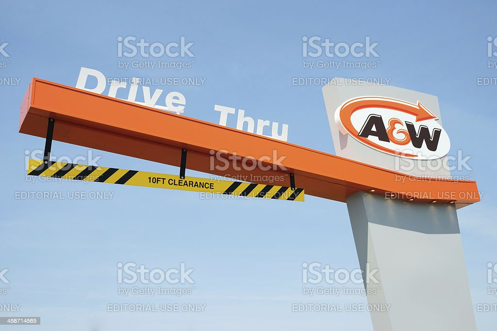 New A&W drive though height restriction sign. stock photo