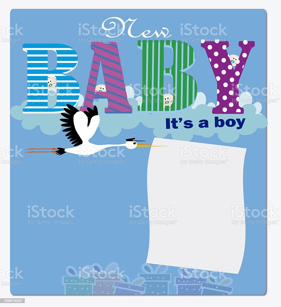 new baby it is a  boy invitation stock photo