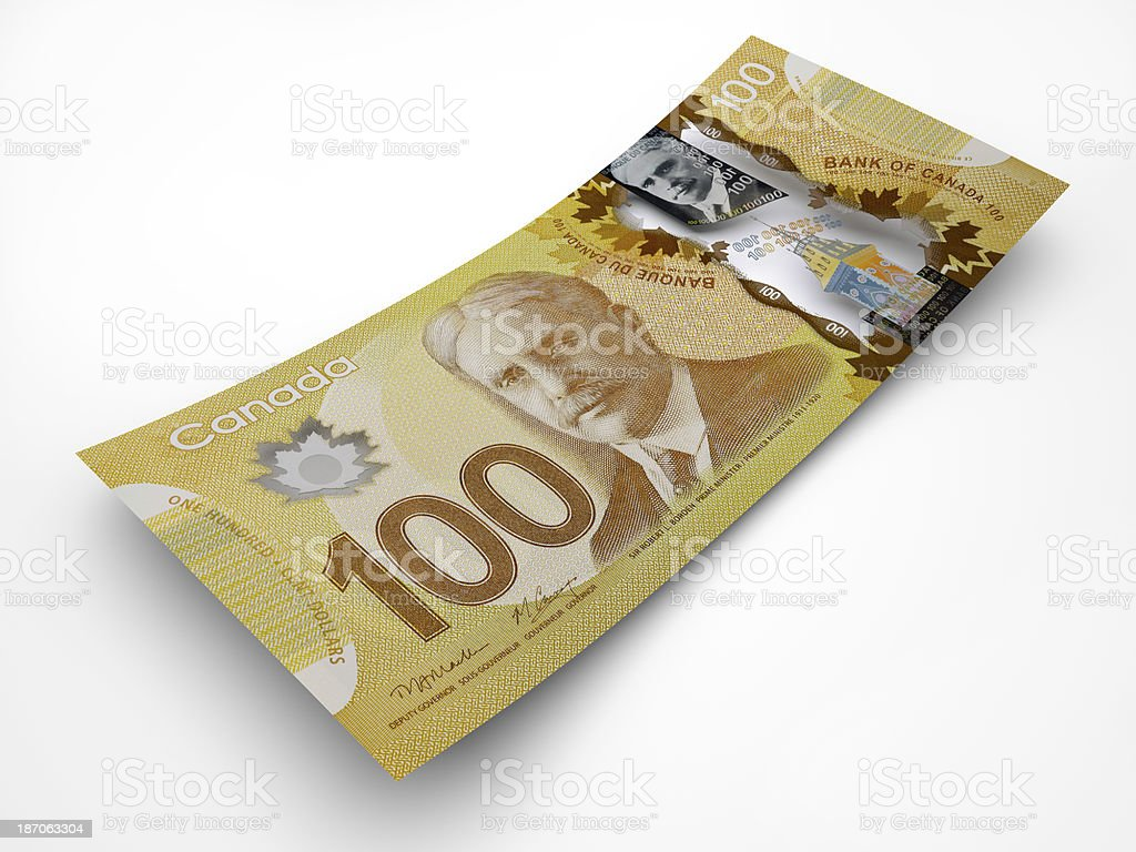 New banknote of one hundred Canadian Dollars w/path. stock photo