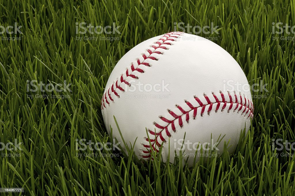 New Baseball in Grass royalty-free stock photo