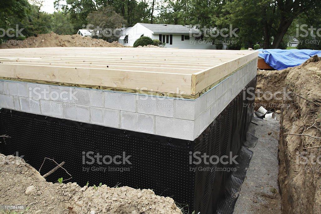 New Basement Foundation Waterproofing stock photo
