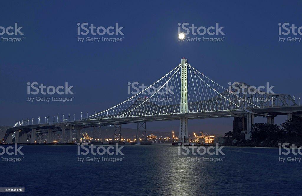 New Bay Bridge With Full Moon stock photo