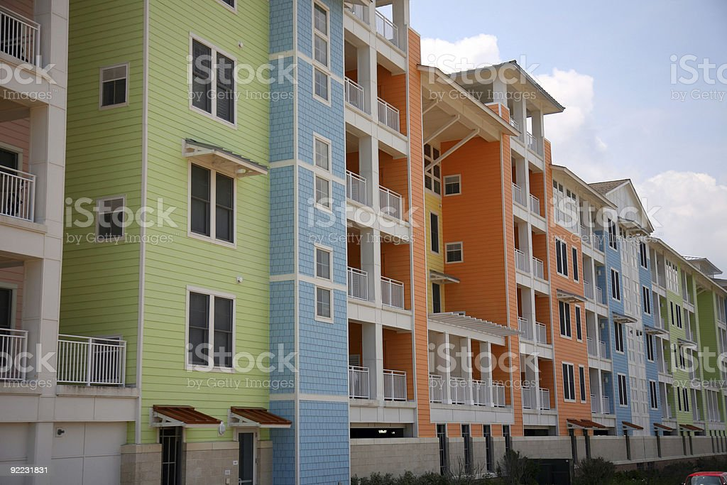 new beachfront condo complex stock photo