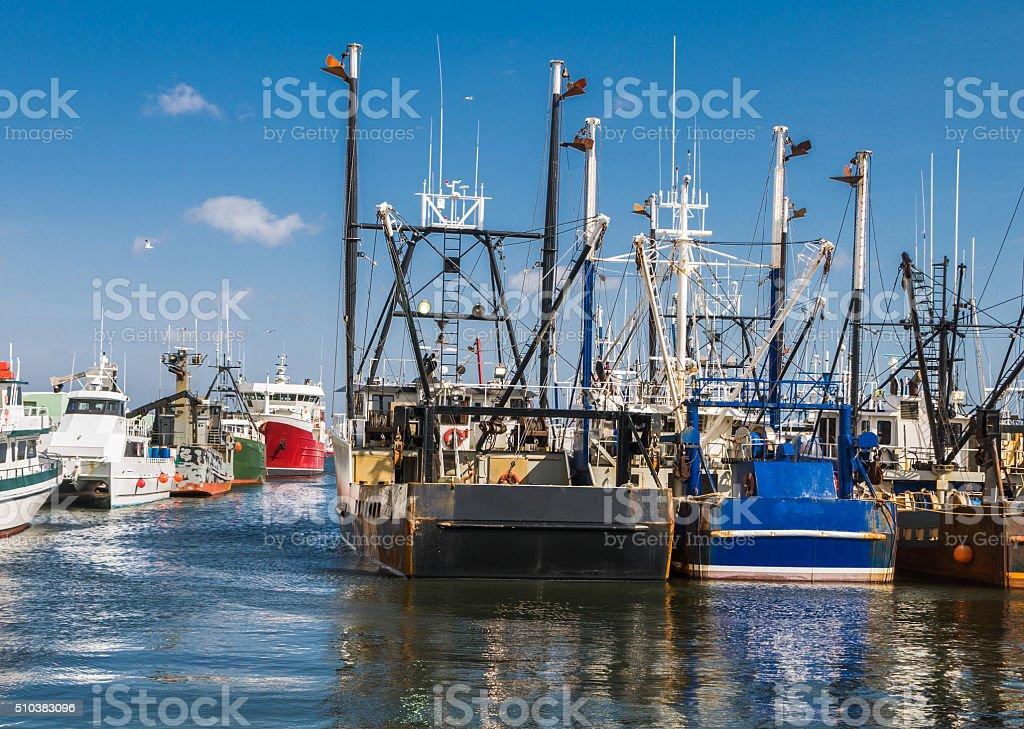 New Bedford Fishing Trawlers stock photo