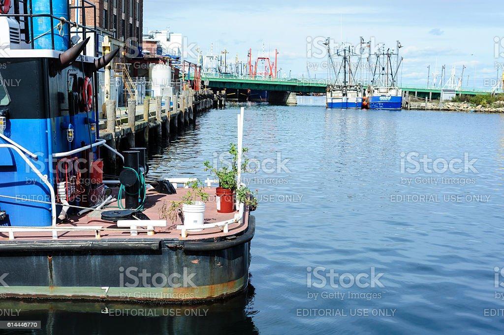 New Bedford harborside stock photo