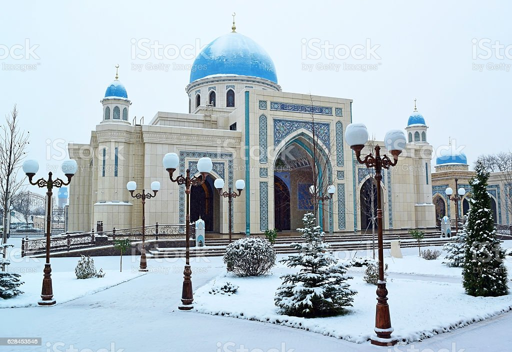 New big  mosque in the winter. stock photo