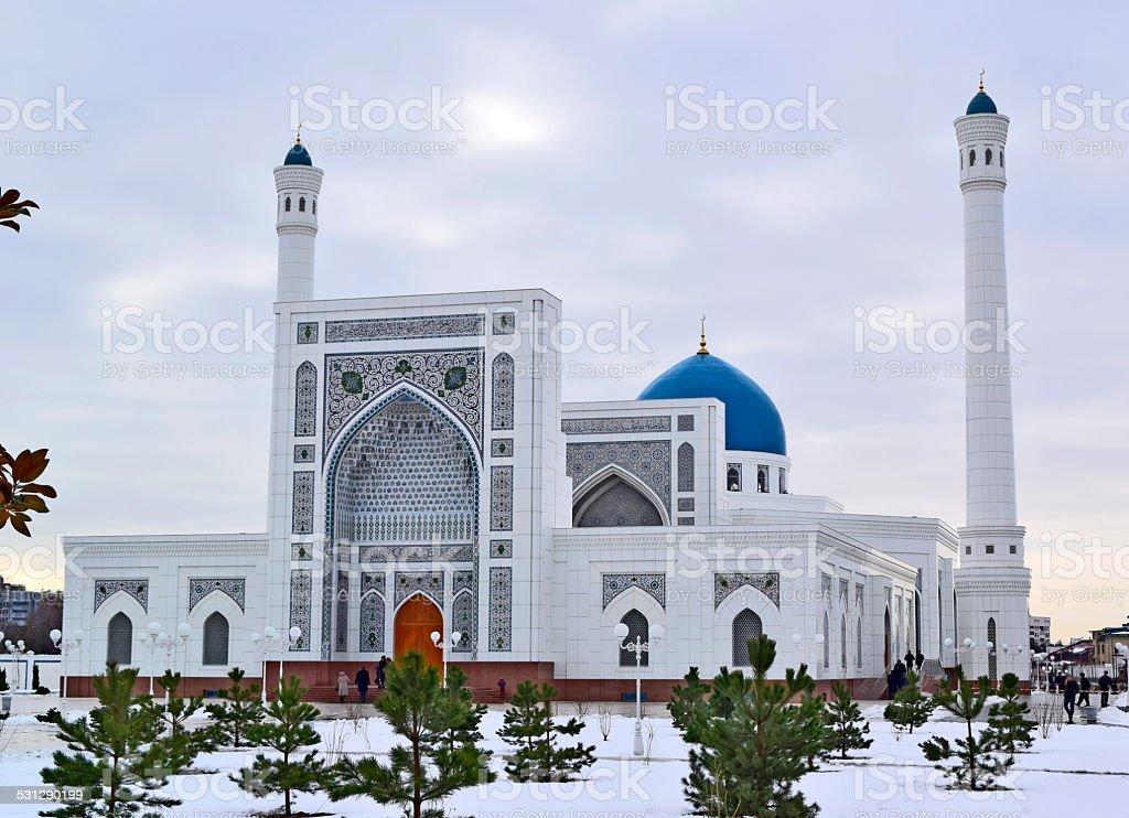 New big white mosque in the winter. stock photo