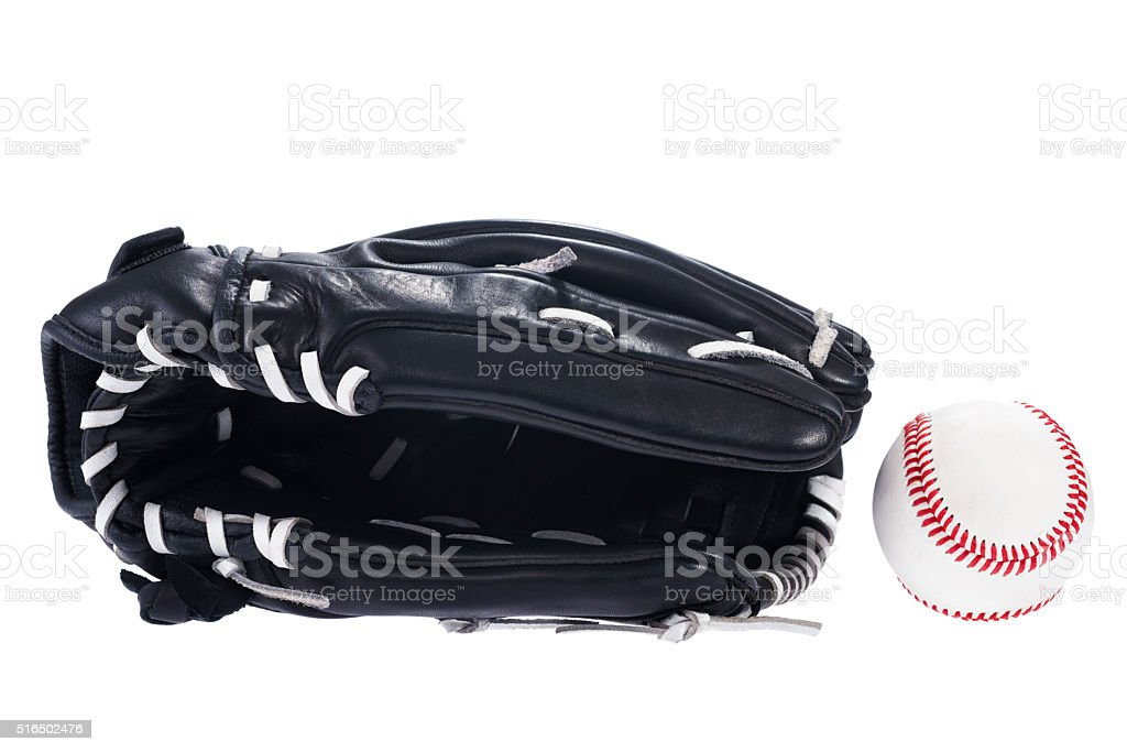 New black leather glove and baseball on a white background stock photo