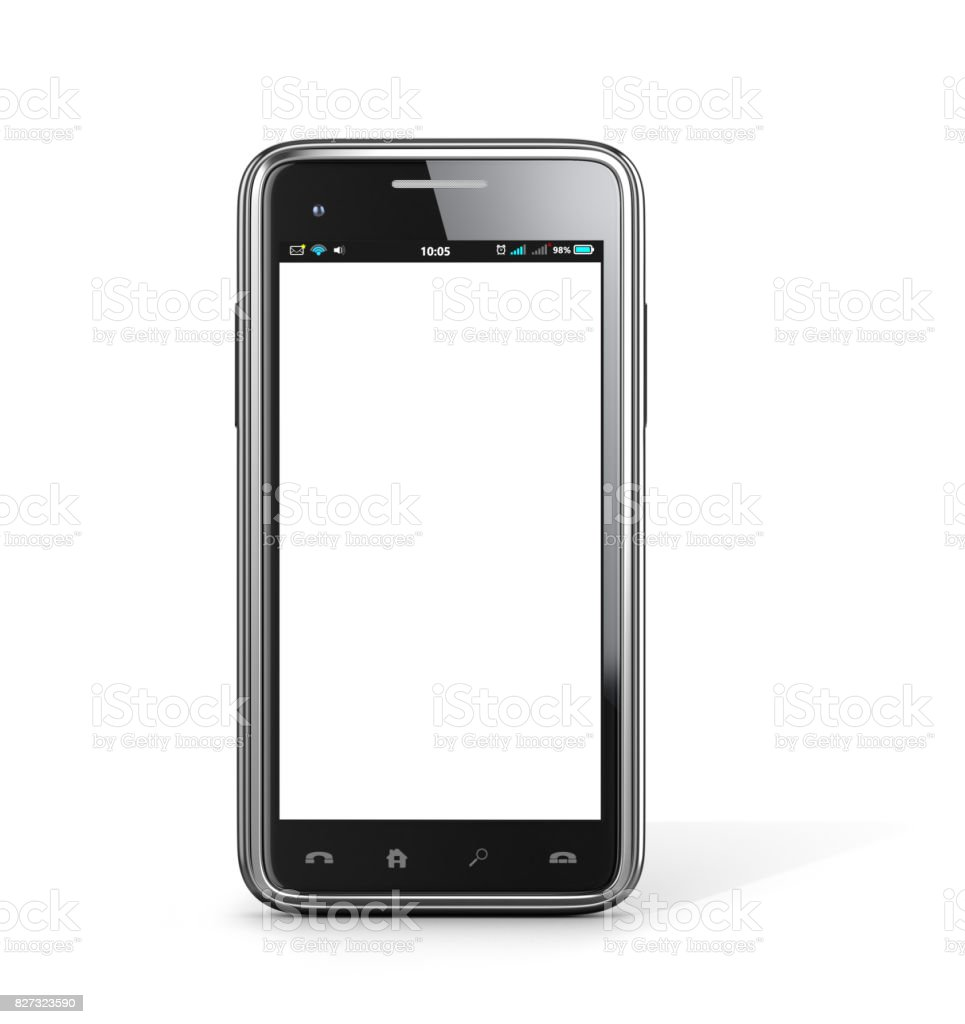 New black smartphone on a white background. 3D illustration stock photo