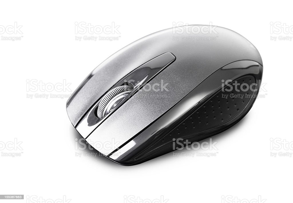 new black wireless pc mouse on white stock photo