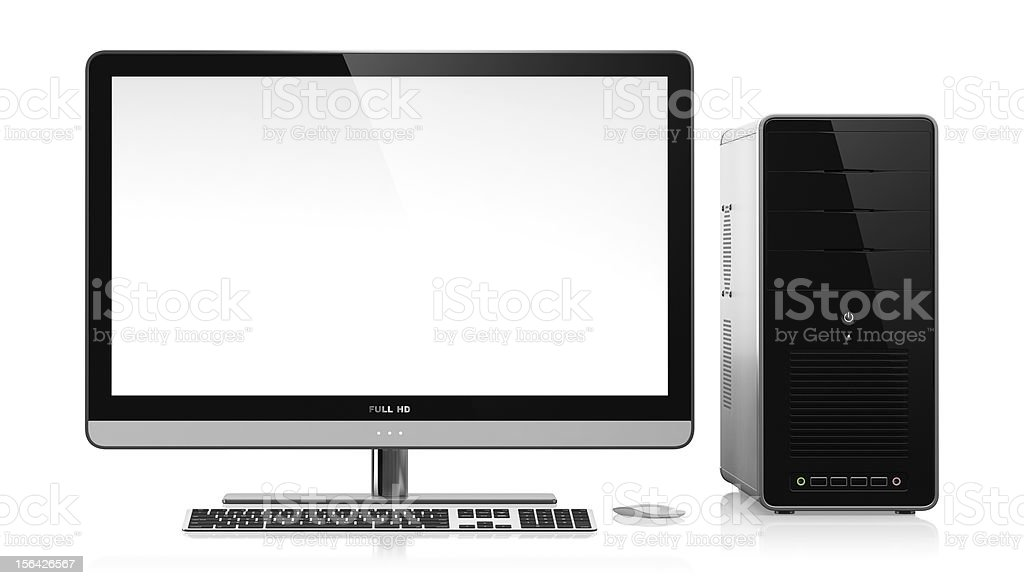 New blank unused desktop computer and monitor stock photo
