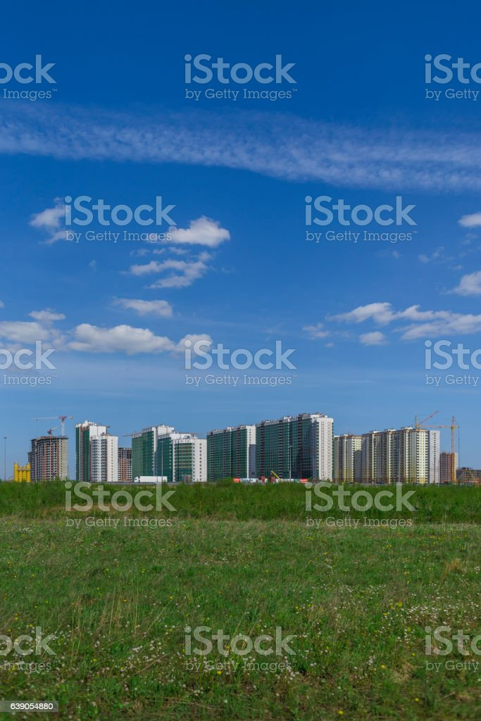New Block of Apartment Buildings Under Construction in Russia stock photo