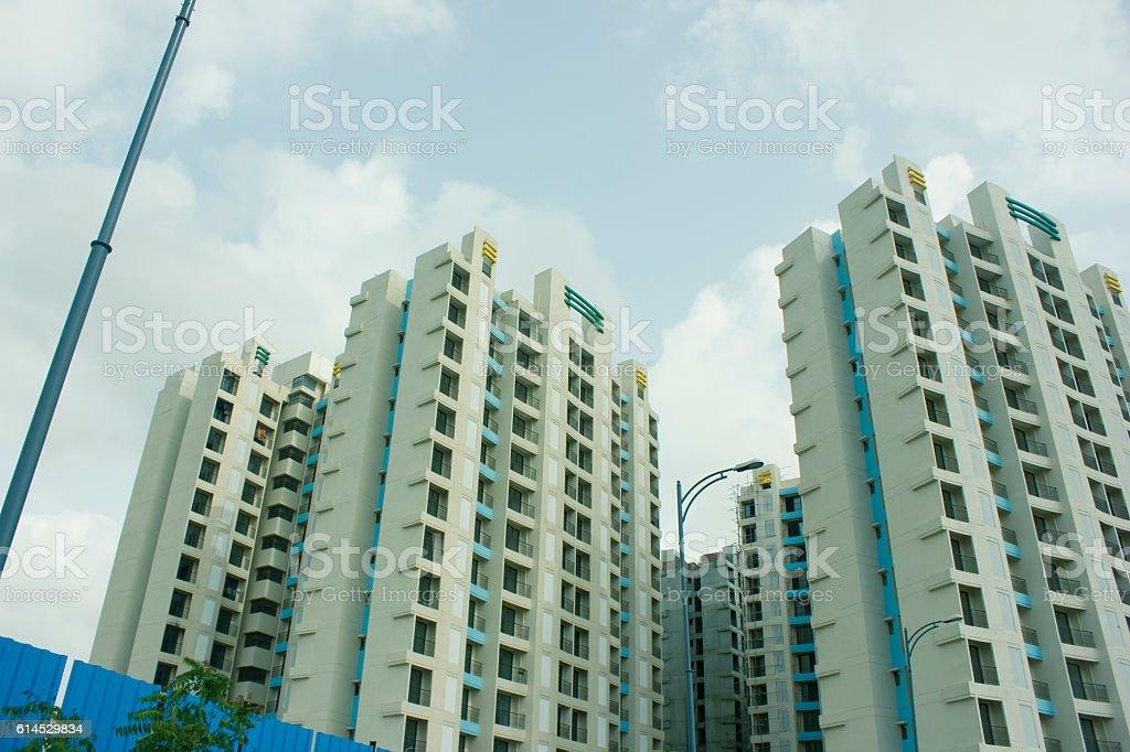 New block of modern apartments stock photo