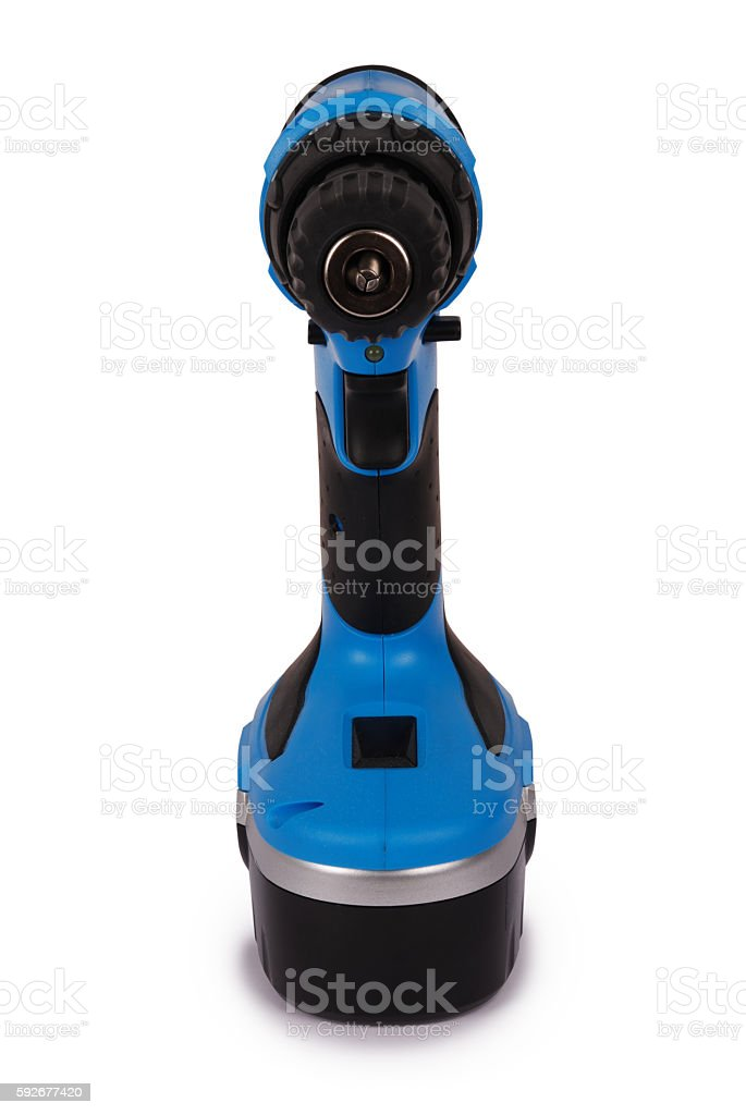 New blue cordless screwdriver (Clipping path) stock photo