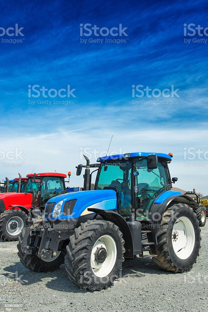 New Blue Farm Tractors for Sale stock photo