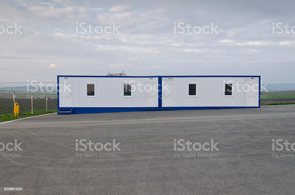 New blue  mobile home container stock photo