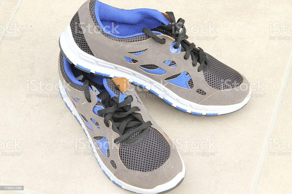 new blue sport shoes stock photo