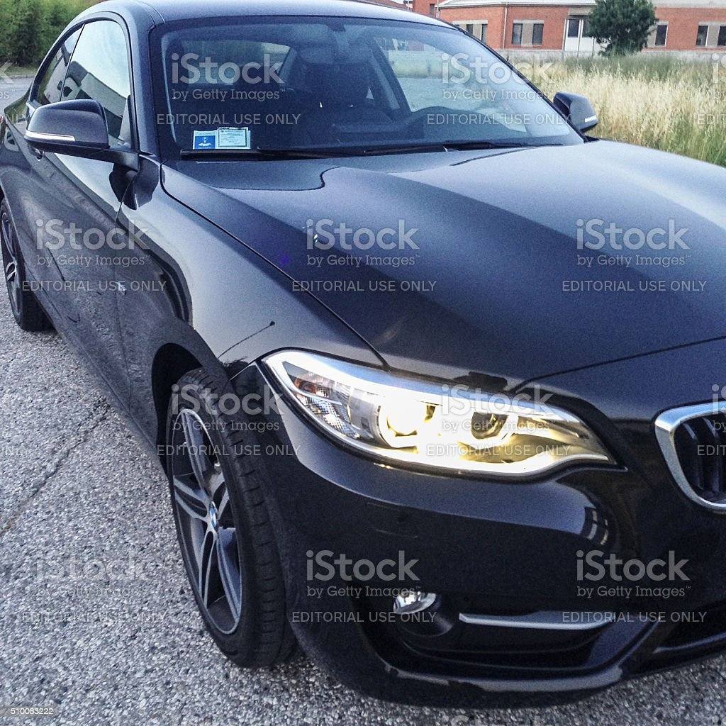 new bmw 2 series headlight front view stock photo