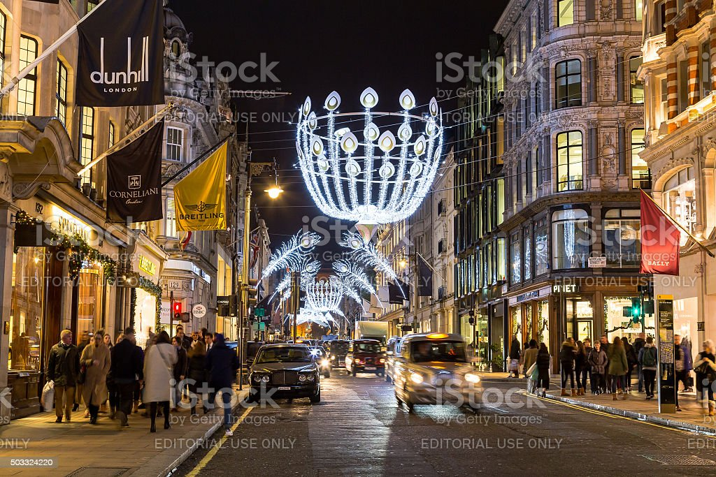 New Bond Street in London at Christmas stock photo
