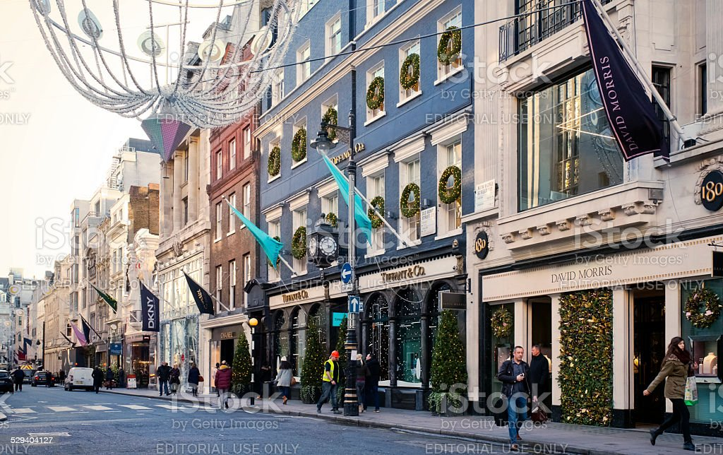 New Bond Street, London, at Christmas stock photo
